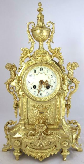 Large Antique French Mantle Clock Stunning 1880 ' s Embossed 8 day Gilt Bronze 2