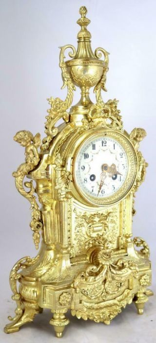 Large Antique French Mantle Clock Stunning 1880 ' s Embossed 8 day Gilt Bronze 3