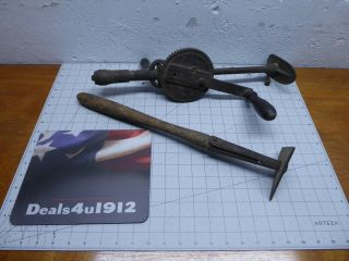 Vintage 2 Speed Hand Crank Breast Drill And Antique Scraper Tool,