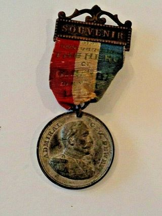 Spanish American War Anniversary Medal Showing Admiral Dewey And Olympia