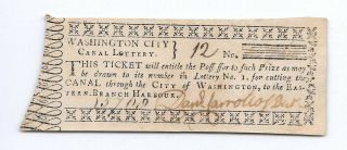 Rare City Of Washington D.  C.  Canal Lottery Ticket Signed By Daniel Carroll 1796