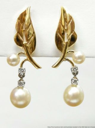 Fine Cultured Pearl Diamond 14k Gold Earrings Numbered Vintage Floral Dangles