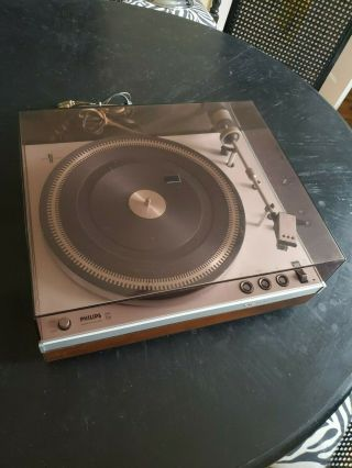 Vintage Philips Ga212 Turntable With Cover - Record Player