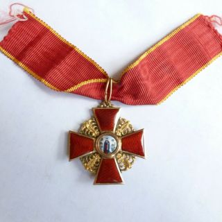 Imperial Russian Order Of St.  Anna,  14k 56 Solid Gold Medal Badge 3rd