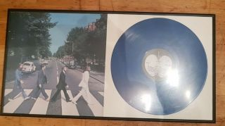 Rare Blue Vinyl Lp Beatles - Abbey Road Framed
