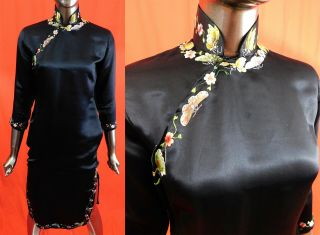 Antique Chinese Qipao Cheongsam Black Silk Butterfly Embroidery Banner Dress Vtg