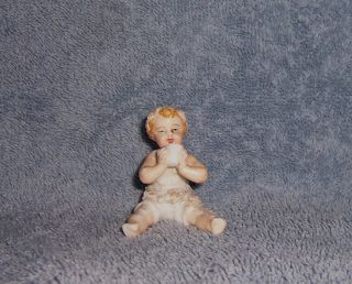 Antique Vintage German Porcelain Dresden? Doll House Dollhouse Baby Holding Cup