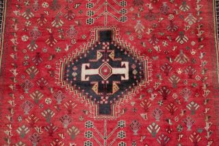 Vintage Geometric Tribal Qashqai Oriental Area Rug Hand - Knotted Red Wool 6