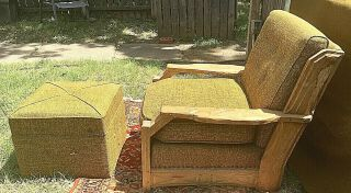 Vintage A Brandt Ranch Oak Lounge Chair And Hassock,  Green Fabric