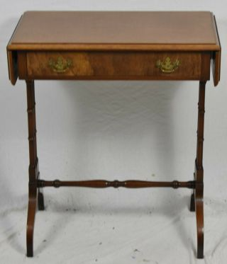 Kittinger Chippendale Mahogany Drop Leaf Table Pembroke Table Bamboo Style Base