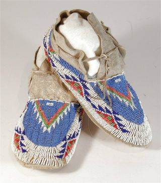 1920s Pair Native American Sioux Indian Bead Decorated Hide Moccasins Beaded 1