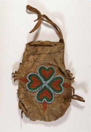 Ca1900 Native American Cree Indian Bead Decorated Hide Pouch / Beaded Hide Bag