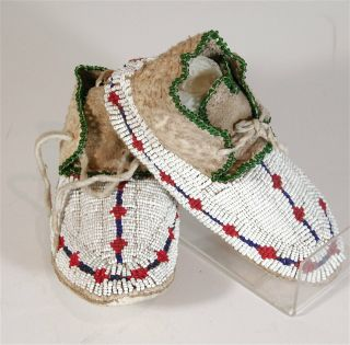 1920s Pair Native American Cheyenne Indian Bead Decorated Hide Moccasins Childs