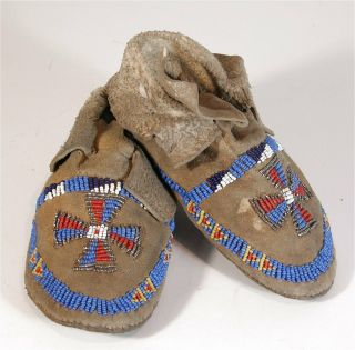 1930s Pair Native American Cheyenne Indian Bead Decorated Hide Moccasins Childs