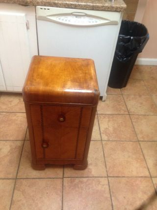 One Mid Century Modern Art Deco Waterfall Nightstands Or End Table