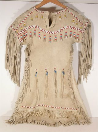 1950s Native American Plains / Sioux Indian Beaded Fringed Hide Dress Stunning