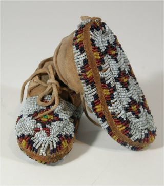 1910s Pair Native American Sioux Indian Fully Bead Decorated Hide Moccasins