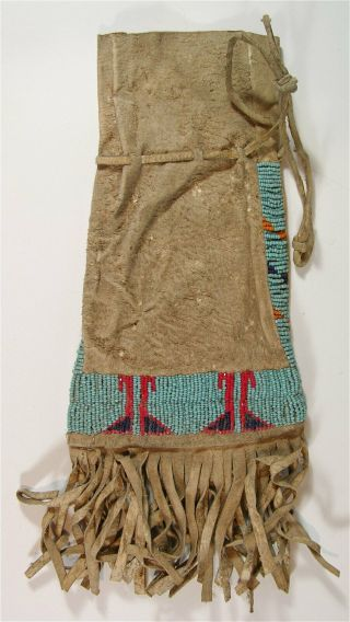 Ca1920s Native American Sioux Indian Bead Decorated Hide Tobacco Bag Beaded Bag
