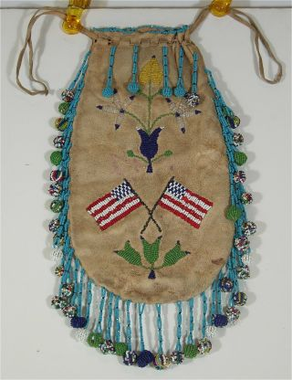 1890s Native American Santee Sioux Indian Bead Decorated Hide Pouch / Beaded Bag
