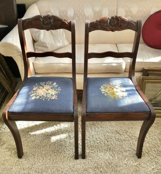 Pair Duncan Phyfe Rose Back Chair Antique Needlepoint Seat Dining Room Table
