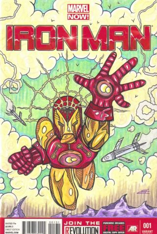 Iron Man 1 Comic Book Sketch Cover (art) Marvel Variant