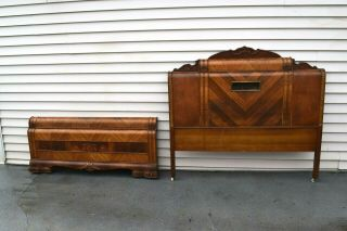 Mid Century Modern Art Deco Waterfall Full Size Bed Boards Vintage Furniture