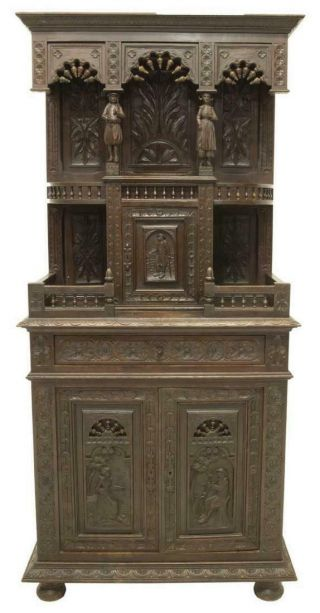 Carved French Breton Carved Oak Buffet Sideboard,  19th Century (1800s)