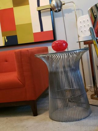 Warren Platner For Knoll Wire Glass Top Round Nickel Side Table