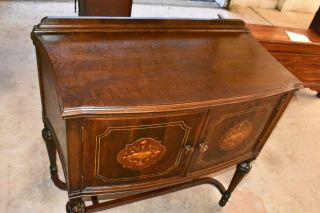 Antique Walnut Cabinet Dining Room Server Buffet Credenza With Decorative Wood I 2