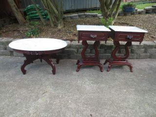 Two Victorian Mahogany Marble Top Lyre Carved Roses End Tables & Coffee Table