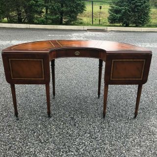 Vintage Kittinger Demi Lune Mahogany Desk With Leather Top And Drop Leaves