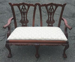 Vintage Carved Mahogany Queen Anne Style Miniature Salesman Sample Loveseat Sofa