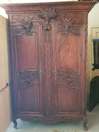 Antique French Armoire Wardrobe Closet Recessed Panels Carved Wood