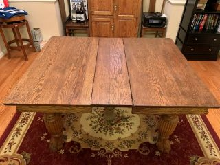 Antique Oak Extension Dining Table W/2 Matching Leaves And 6 Chairs