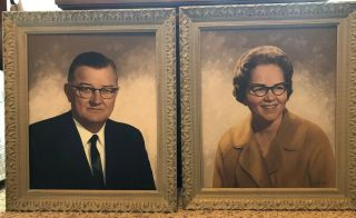 Vintage Portrait Pair Signed John E Reed Oil Painting Framed And Stretched.