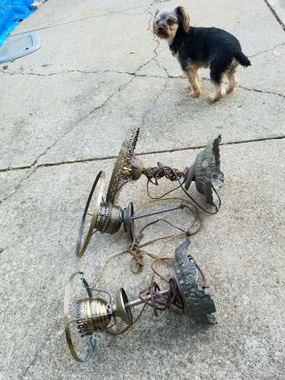 (3) Victorian/vintage/antique Table Lamp Parts.  Broken Glass Is Why I