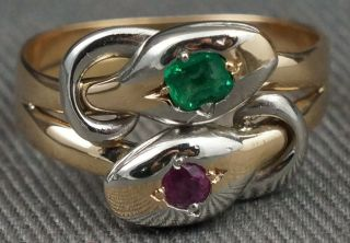 Rare Vintage 2 Tone Solid 14k Gold,  Emerald & Ruby Double Snake Head Estate Ring