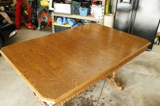 Antique Oak Dining Room Table And 6 Chairs