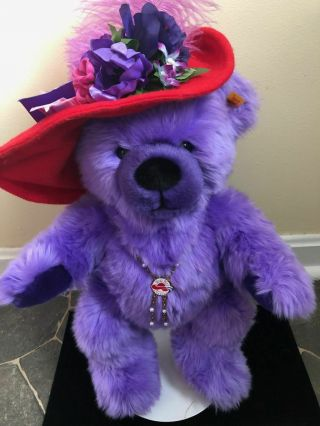 Rare Vintage Steiff Teddy Bear Red Hat Society With Necklace,  Button & Tag