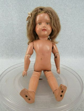 "15 "" Antique Wooden Jointed Schoenhut Miss Dolly Doll Pat"