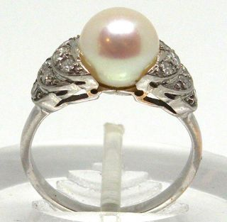 Antique 18k White Gold With Diamonds And Pearl