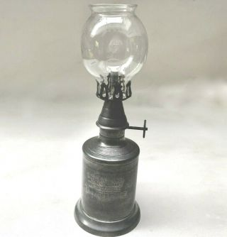 Vintage French Heavy Pewter Miners Oil Lamp & Glass Shade,  Rare Collectors Item