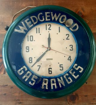 "Vintage 21 "" Neon Advertising Clock Wedgewood Gas Ranges Neolite Oakland Ca."