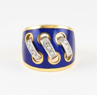 Wide Heavy Solid 18ct 18k Gold Ring With Diamond & Blue Guilloche Enamel