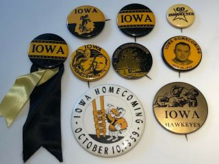 9 University Of Iowa Hawkeye Vintage Buttons,  1939 Nile Kinnick - Heisman Year
