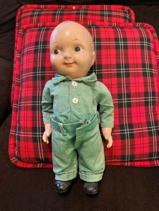 """Rare Early Composition Buddy Lee Doll Sanforized Military Uniform 12 1/2"""" Great"""