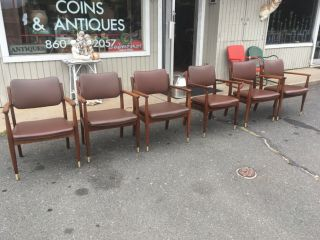 Set Of 6 American Mid Century Modern Walnut Dining Chairs By Gregson