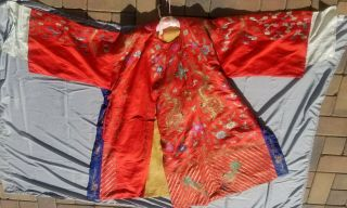 Incredible Dragon Qing Dynasty Chinese Embroidered Silk Robe Forbidden Stitch