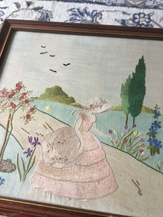 Vintage Hand Embroidered Crinoline Lady Picture