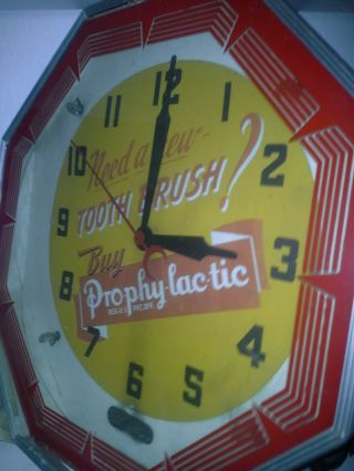 Vintage Octagonal Npi Neon Advertising Clock
